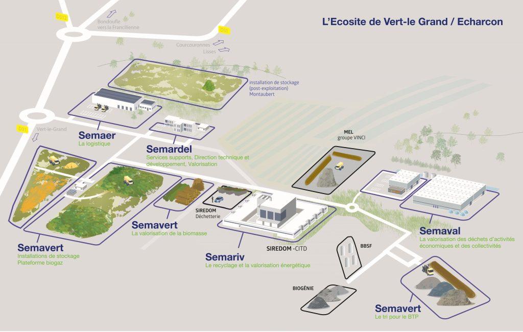Plan de l'Ecosite de Vert-le-Grand / Echarcon