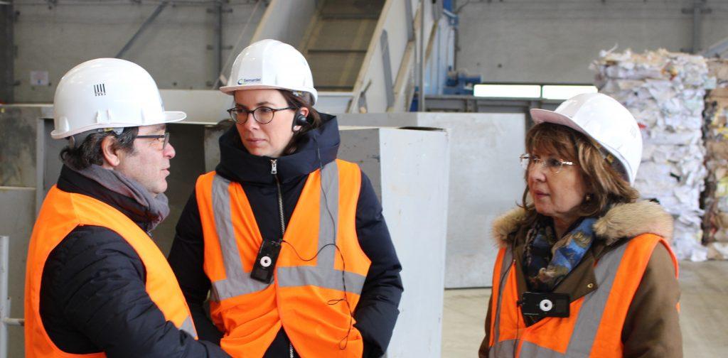 Amélie de Montchalin, Brigitte Vermillet et Eric Braive en visite de l'Ecosite de Semardel